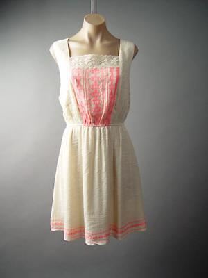 Ivory Crochet Square Neck Embroidered Mexican Peasant 227 mv Dress XL 2XL 3XL