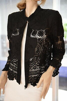 Lim's 100% Cotton Zip Front Hand Crochet And Embroidery Jacket Black M