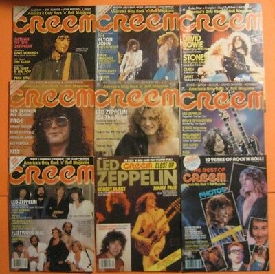 Rare Lot Of 9 Led Zeppelin Creem Magazines Original Vintage 1970's 1980's