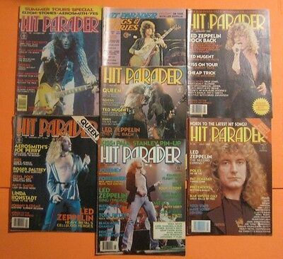 Rare Lot Of 7 Led Zeppelin Hit Parader Magazines Original Vintage 1970's 1980's