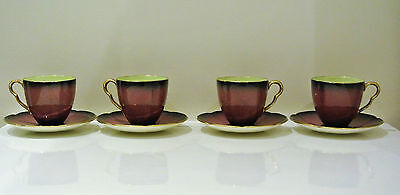 4x Vintage Carlton Ware, Rouge Royale,1950s Demitasse Coffee Cups And Saucers.