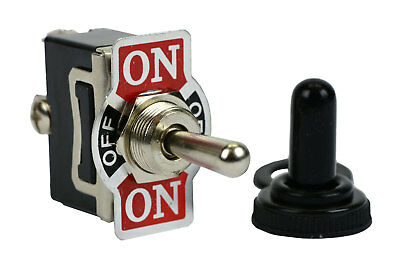 TEMCo 20A 125V ON-OFF-(ON) 3 Terminal Toggle Switch Momentary w/ Waterproof Boot