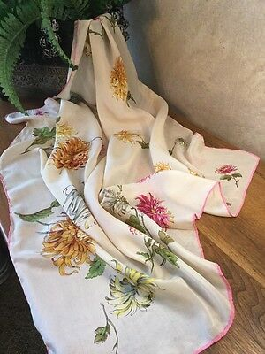 """Vintage Silk Scarf Floral Printed Mums Pink Green Ivory Hand Roll 29"""" Square"""