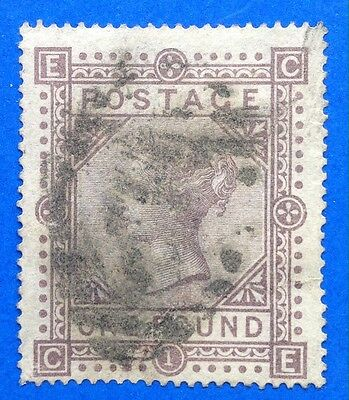 GB Queen Victoria Surface Printed £1.00 Brown Lilac Filler SG 129. (cat £4500)