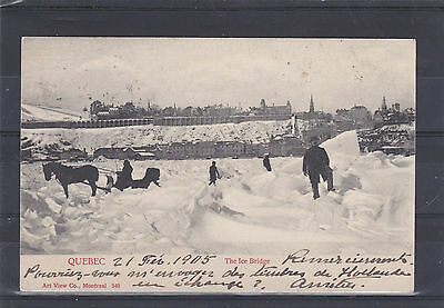 Canada-The Ice Bridge,quebec 1905 Postcard To Holland With Queen Victoria Stamp