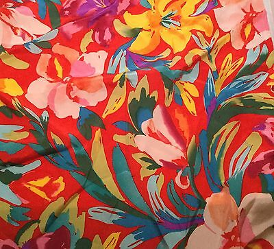 """Silk CHARMEUSE Fabric Red /& Gold Gem Paisley 11/""""x16/"""" remnant"""