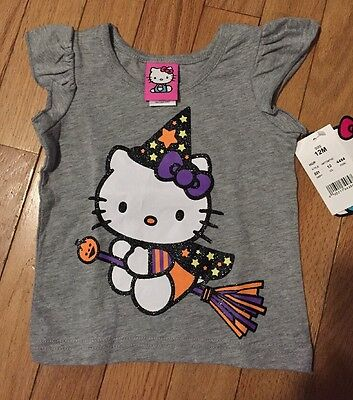 NWT Girls Gray HELLO KITTY Halloween Witch Tee ~ Sizes 12M 18M 2T 3T or 4T