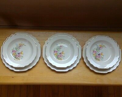 Vtg WS George Lido White Flowers on Fence 6 Piece Dinner Plates Soup Bowls 40s