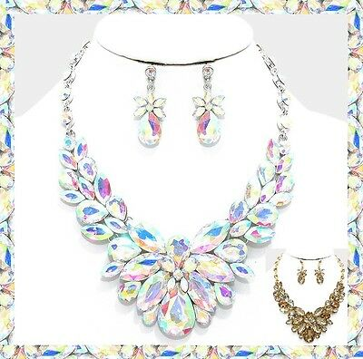 Crystal Rhinestone Cluster Style Bib Necklace Evening Bridal Party Prom Set