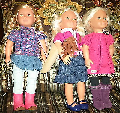 """3 Doll Lot of 18"""" Battat Our Generation Dolls All Are Blonde w/ Green Eyes & Clo"""