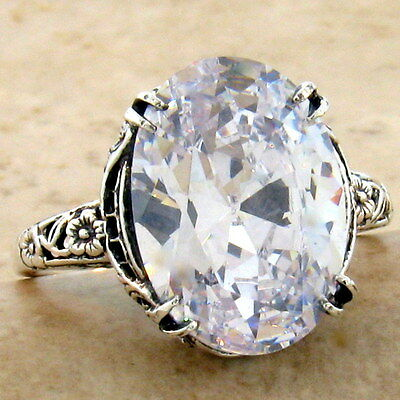 Antique Art Nouveau Style 925 Sterling Silver Cz Filigree Ring,             #946