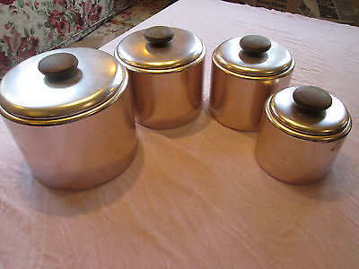 Vintage 4 Mirro Aluminum Kitchen Canister Set Pink Copper Tone Wood Knobs