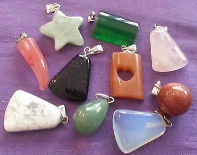 Wow Bargain - Huge Bulk Lot 10 Mixed Gemstone Pendants - Free Postage !