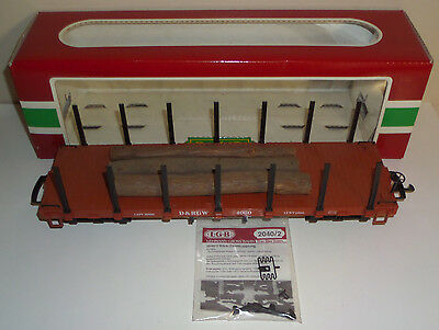 Lgb G-Gauge 4060 D&rgw Flat With Stakes Car & 3 Wooden Logs With Original Box