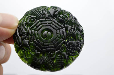 China's 100% natural jade black jade Dragon pendant nephrite carving