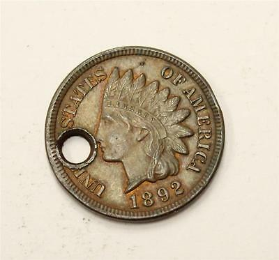 1892 Indian Cent R & B UNC MS63 with hole at 9 oclock
