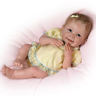 "So Real 18"" Touch Activated Doll Yellow Outfit Life Like Baby Dolls NEW"