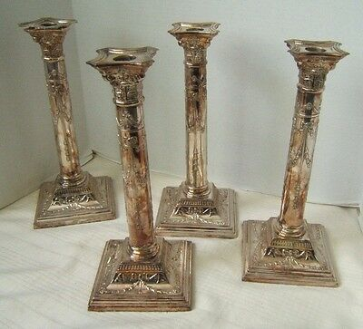 4 Old Sheffield Silverplate Corinthian Column Candlesticks Very Nice