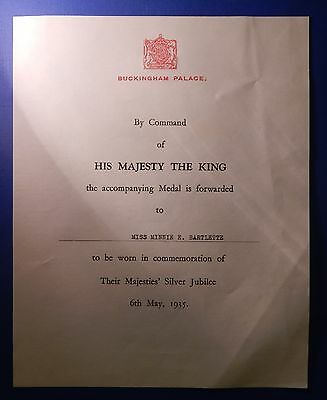 British King George V Silver Jubilee Medal 1935 Document Only To Woman    Ab0250