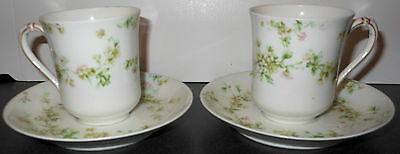Two Haviland Chocolate Cups and Saucers, Pink and Green Floral Pattern