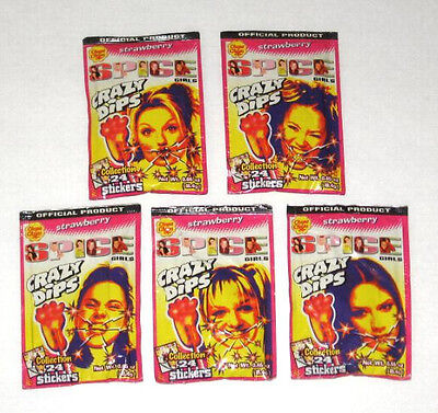 SPICE GIRLS 1997 Set Of 5 (Five) Still Sealed Crazy Dips Collectors Candy