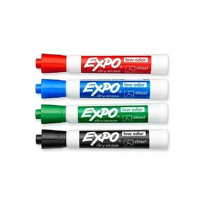 Expo 2 Low-Odor Dry Erase Markers, Chisel Tip, 4-Pack, Assorted Colors (80174)
