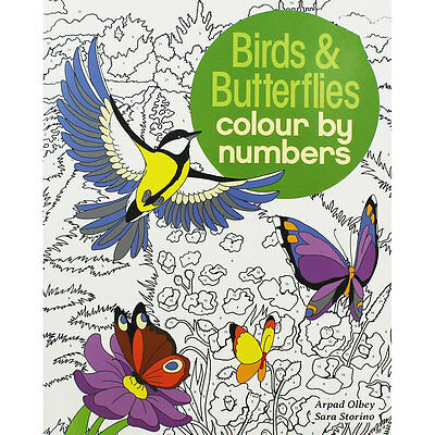 Birds and Butterflies Colour By Numbers (Paperback), Children's Books, Brand New