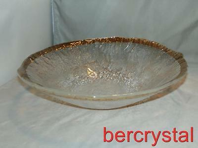 "Ivv Crystal Glacier Textured Glass Gold Band Trim Large Serving Bowl 13"" Across"