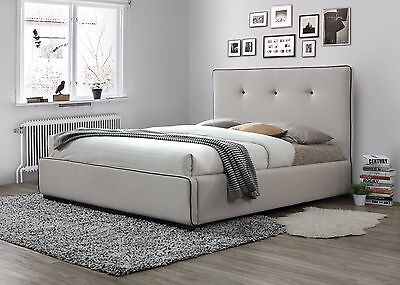 Modern Queen Size Fabric Bed Frame - Oat White