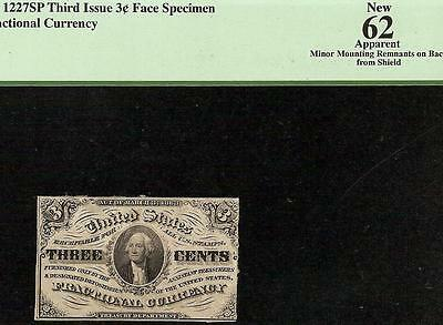 UNC 3 THREE CENT SHIELD SPECIMEN NOTE FRACTIONAL CURRENCY DARK Fr 1227SP PCGS 62