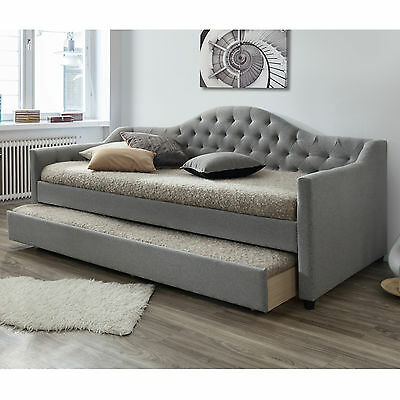 Modern Single Fabric Sofa Bed Frame with Trundle - Grey