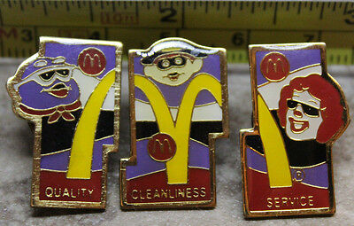 McDonalds 3 Piece Set Quality Cleanliness Service Ronald Pinback Pin Button