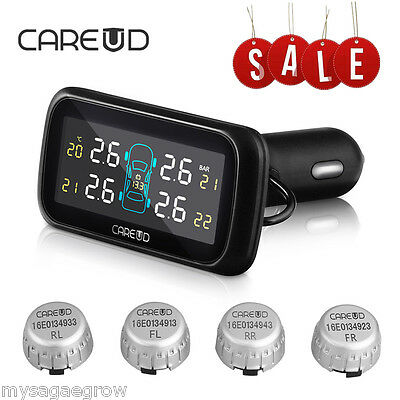 Wireless LCD Car Auto TPMS Tyre Tire Pressure Monitoring System + 4 Sensors UK