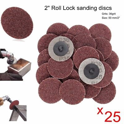 "25cs 2"" Roloc Discs 36 Grit R Type Sanding Abrasive Roll Lock Coarse - NEW"