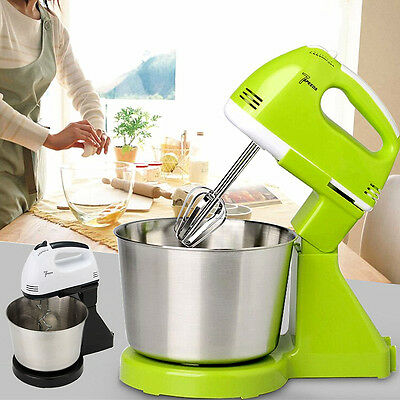 7 Speed Electric Beater Dough Cakes Bread Egg Stand Mixer & Hand Blender & Bowl