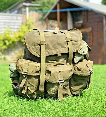 Us Army Alice Webbing & Full Back-Pack & Frame + Accessory Pouches Attached.