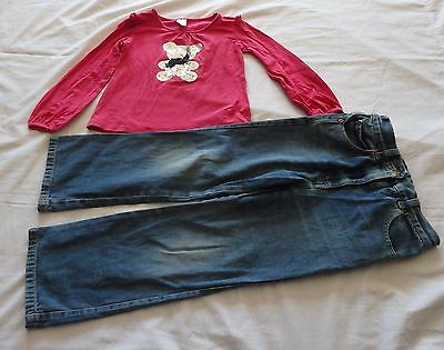 Girls size 6 Blue denim jeans Now & pink long sleeve top sequin bear on front