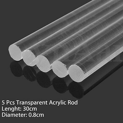 "5pcs Transparent Clear Acrylic Round Rod Tube Solid Bar 8mm Dia 300mm (12"") Long"