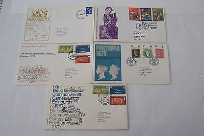 5-First Day Uk Covers 1970- 1972