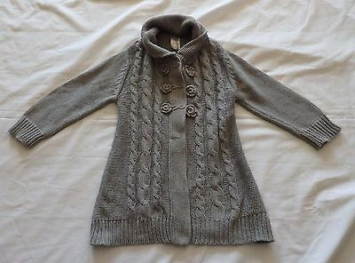 GIRLS size 4 Grey Knitted Cotton Cardigan Target  3 buttons  winter top