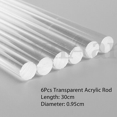 """6pcs Transparent Clear Acrylic Round Rod Solid Bar 9.5mm Dia. 300mm (12"""") Long"""