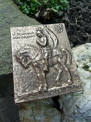 Vintage german Bronze Plaque Saint Joan of Arc The Maid of Orléans - Eva Limberg