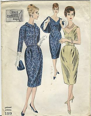 VTG 1959 VOGUE Couturier Evening Dress & Jacket PATTERN 199 Sz 14 Partially Used