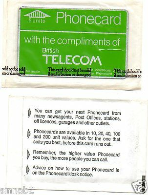 BT DEFINITIVE 2nd ISSUE 5 UNIT COMPLIMENTARY PHONECARD (FOOTNOTES) SEALED PACK