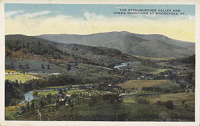Ottauquechee Valley at WOODSTOCK Vermont USA 1915-30s Green Mountain Card Co. PC