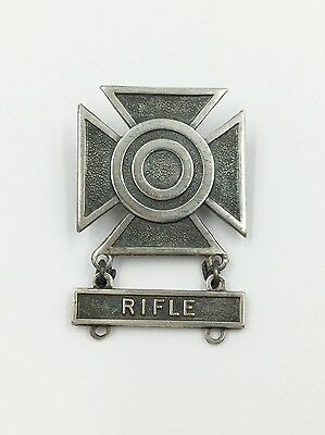 Vintage Sterling Silver 925 GI Military Iron Cross Medan Brooch Pin Rifle Bar