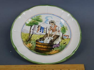 Vintage Italian Pottery Hand Painted Figural Farm Scene Wall Plate