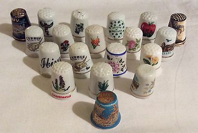Small collection of 18 china thimbles