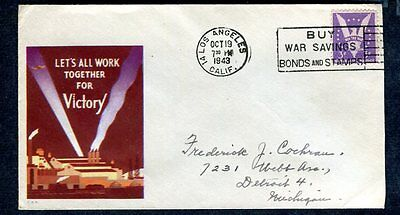 WORLD WAR II Patriotic 1943 LET's ALL WORK TOGETHER for VICTORY! Win the War sta