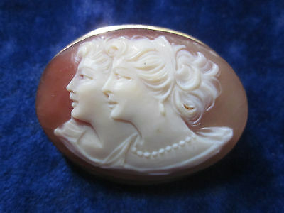 14k Gold Cameo  carved Two Faces